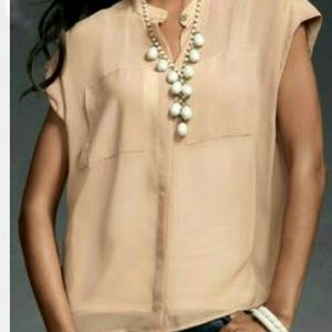 CAbi • Nude Sheer Short Sleeve Button Down